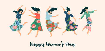 Vector illustration of cute dancing women. International Women s Day concept for card, poster, banner and other  イラスト・ベクター素材