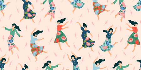 Vector seamless pattern with cute dancing women. Concept for International Women s Day and other 일러스트
