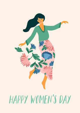 International Women s Day. Vector template with dancing woman and flowers for card, poster, flyer and other Çizim