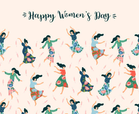 Vector illustration of cute dancing women. International Women s Day concept for card, poster, banner and other 스톡 콘텐츠