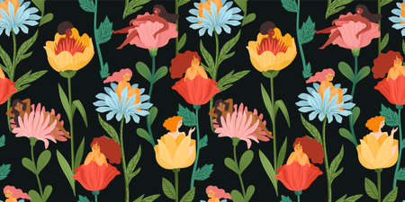Seamless pattern with women sitting in flowers. Concept for International Women s Day and other. Vector template