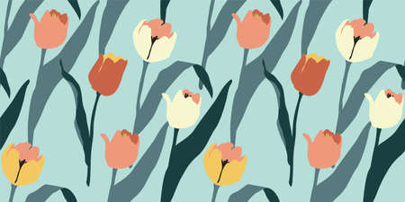 Abstract floral seamless pattern tulips .Trendy hand drawn textures. Modern abstract design f Zdjęcie Seryjne - 164374412