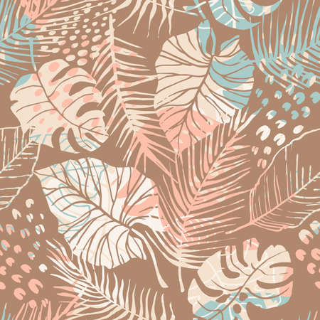 Tropical seamless pattern with abstract leaves. Modern design for paper, cover, fabric, interior decor and other Zdjęcie Seryjne - 164374417