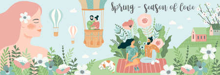 Banner with cute illustrations of people and spring nature. Love, relationships, young people. Vector Çizim
