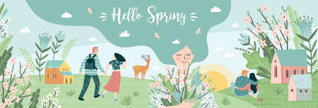 Banner with cute illustrations of people and spring nature. Love, relationships, young people. Vector  イラスト・ベクター素材