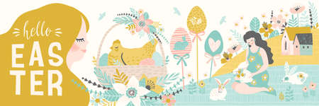 Happy Easter. Banner with cute illustrations of easter symbols and spring nature.