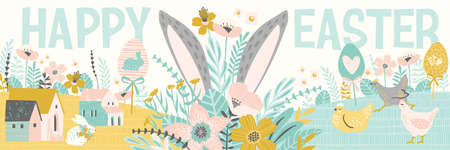 Happy Easter. Banner with cute illustrations of easter symbols and spring nature. Vector template.