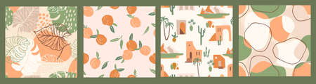 Abstract collection of seamless patterns with apricots, landscape, leaves and geometric shapes.