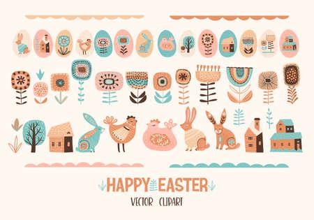 Happy Easter. Vector set of cute illustration. Chicken, bunnies , flowers, eggs, houses. Design elements Stok Fotoğraf - 164714021