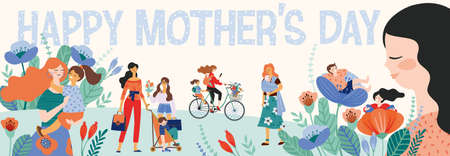 Happy Mothers Day. Vector illustration with women and children. Design element for card, poster, banner, and other use. Çizim
