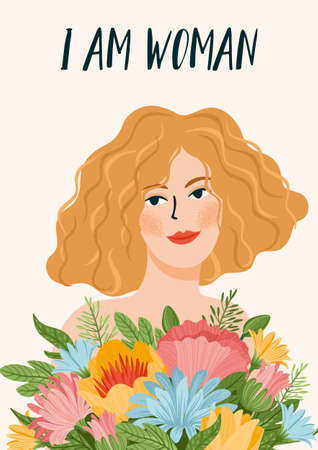 Vector illustration of cute woman with flowers. International Women s Day concept for card, poster, flyer and other