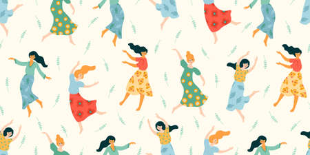 Vector seamless pattern with cute dancing women. Concept for International Women s Day and other Çizim