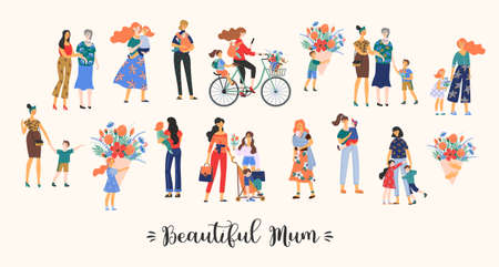 Beautiful Mum. Vector collection of cute illustration. Mothers with children. Clipart. Concept for Mothers day and other