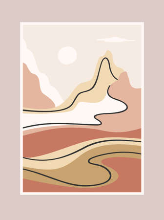 Contemporary art print with southern landscape. Mediterranean, North Africa. Line art. Modern vector design Çizim