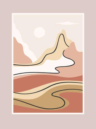 Contemporary art print with southern landscape. Mediterranean, North Africa. Line art. Modern vector design 일러스트