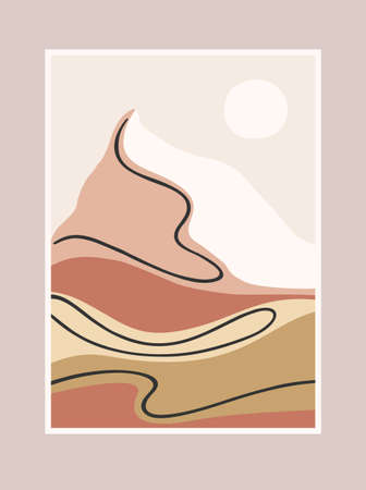 Contemporary art print with southern landscape. Mediterranean, North Africa. Line art. Modern vector design  イラスト・ベクター素材