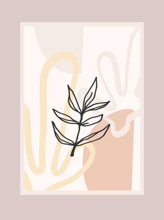 Contemporary art print with abstract plant. Line art. Modern vector design Zdjęcie Seryjne - 165245003