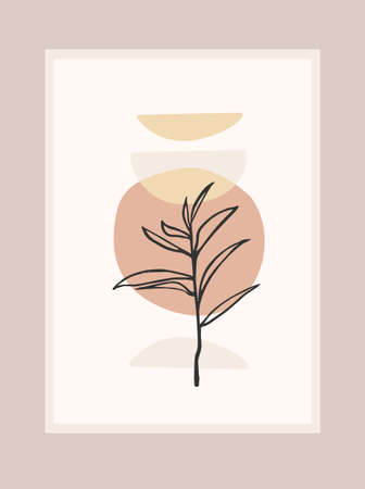 Contemporary art print with abstract plant. Line art. Modern vector design Stok Fotoğraf - 165245004