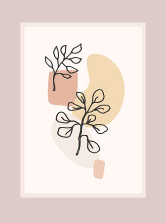 Contemporary art print with abstract plant. Line art. Modern vector design
