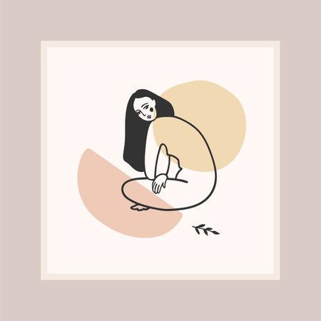 Contemporary art print with woman. Line art. Modern vector design