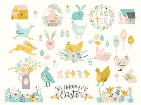 Happy Easter. Vector set of cute illustration. Chicken, bunnies , flowers, eggs, houses. Design elements