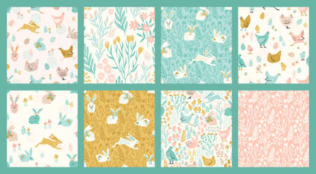Vector seamless patterns with bunnies and chicken for Easter and other use. Zdjęcie Seryjne - 165894240