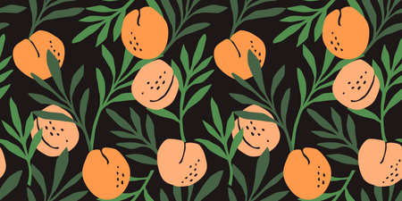 Vector seamless pattern with peaches. Trendy hand drawn textures. Modern abstract design Çizim