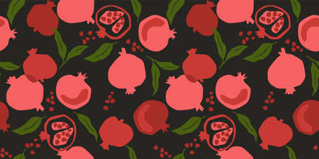 Vector seamless pattern with pomegranate. Trendy hand drawn textures. Modern abstract design Zdjęcie Seryjne - 165894245