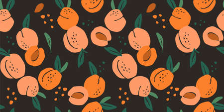 Vector seamless pattern with peaches. Trendy hand drawn textures. Modern abstract design  イラスト・ベクター素材