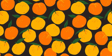 Vector seamless pattern with mandarins. Trendy hand drawn textures. Modern abstract design Zdjęcie Seryjne - 165894248