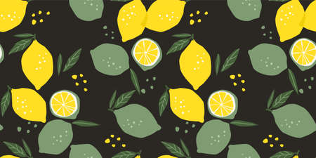 Vector seamless pattern with lemons and limes. Trendy hand drawn textures. Modern abstract design