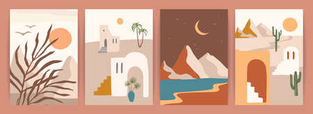 Collection of contemporary art prints with southern landscape. Mediterranean, North Africa. Modern vector design Zdjęcie Seryjne - 165897126