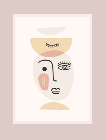 Contemporary portrait. Vector illustration wtih trandy face painting. Modern abstract design