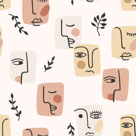 Contemporary portrait. Vector seamless pattern wtih trandy abstract face painting. Modern design  イラスト・ベクター素材