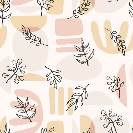 Contemporary art seamless pattern with plant branches. Line art. Modern design