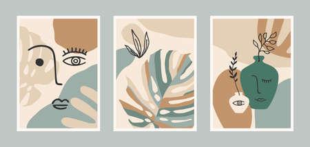Set of Contemporary art prints. Line art. Modern vector design