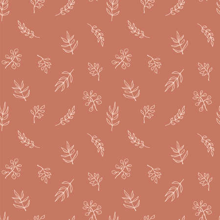 Contemporary art seamless pattern with branches, leaves, plants. Line art. Modern design