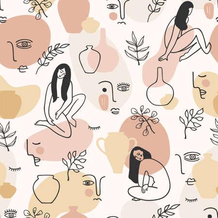 Contemporary art seamless pattern with women. Line art. Modern design