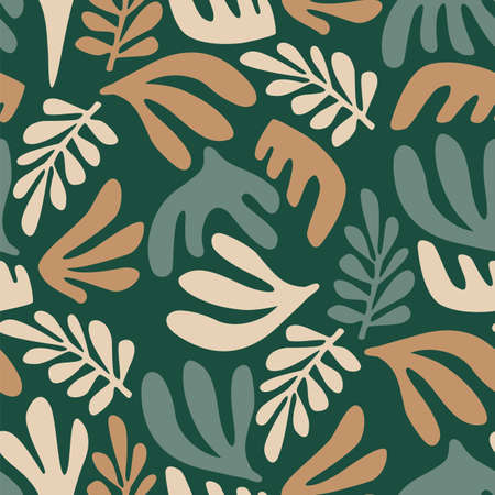 Contemporary art seamless pattern with abstract plants. Modern design  イラスト・ベクター素材