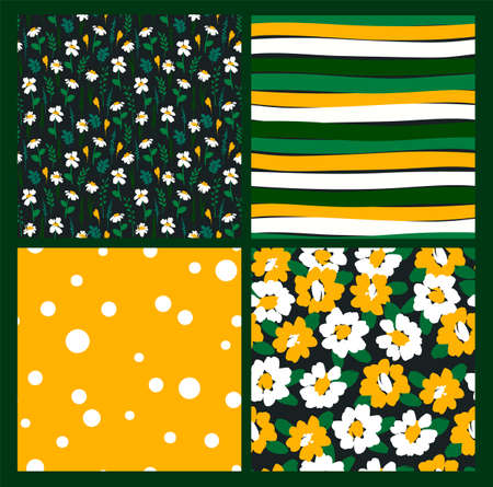 Abstract floral seamless patterns with chamomile. Trendy hand drawn textures. Modern abstract  イラスト・ベクター素材