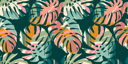 Tropical seamless pattern with abstract leaves. Modern design for paper, cover, fabric, interior decor and other.