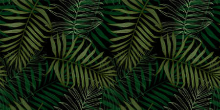 Tropical seamless pattern with palm leaves. Modern abstract design for paper, cover, fabric, interior decor and other