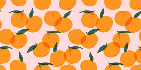 Vector seamless pattern with mandarins. Trendy hand drawn textures. Modern abstract design.