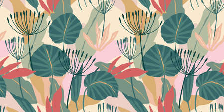 Artistic seamless pattern with abstract leaves. Modern design for paper, cover, fabric, interior decor and other.
