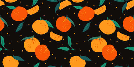 Vector seamless pattern with mandarins. Trendy hand drawn textures. Modern abstract design