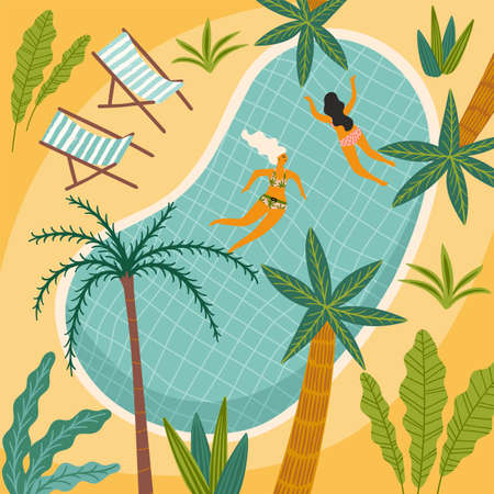 Vector illustration of tropical beach and swimming pool. Design element for summer concept  イラスト・ベクター素材