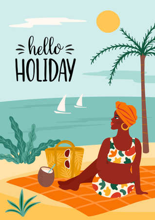 Vector illustration of woman in swimsuit on tropical beach. Summer holliday, vacation, travel.