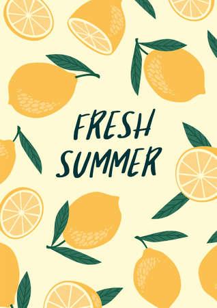 Vector illustration with lemons. Summer holliday, juice, fruit, citrus.
