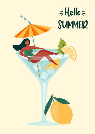 Vector illustration of woman in swimsuit in a glass with a cocktail. Summer holliday, vacation, travel.