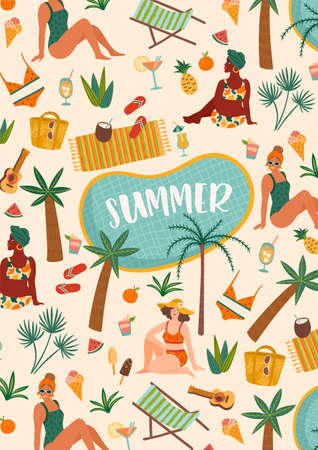 Vector illustration of women in swimsuit on tropical beach. Summer holliday, vacation, travel.